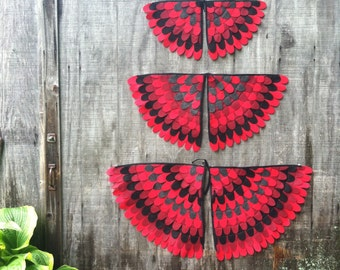 Magical Creature Wings // Costume Wings //  red bird,  cardinal, red womgs- Eco Friendly, Flying Fun