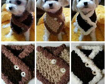 Crocheted Small Dog, Puppy scarf, dog neck warmer Choose from 3 Colors fits most S or M dogs