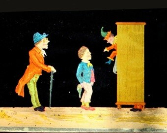Antique German Magic Lantern glass slide, Antique animation