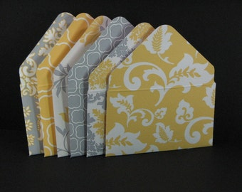 2x3.5 Elegant Grey & Yellow Gift Card Envelopes