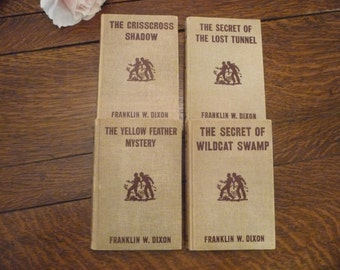 Hardy Boys Brown Tweed Books - 4 Books Published in 1950s