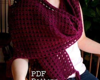 Crochet Tassel Wrap Pattern PDF Digital Shawl Easy Project