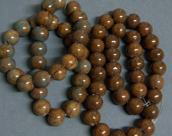 Glazed Ceramic Beads, Large Hand Made Ceramic Round  Beads,  Brown and  Blue or Brown, 14-13mm, Large Hole