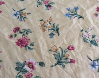 Yellow Pink Blue Floral Fitted Twin Sheet  - Girls Room - Shabby Chic - Cottage - Fabric Quilting - Flowers - Teens Room -Guest Room