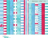 Nautical Papers, Sailing 12x12 Background Papers, Nautical Paper Pack, Digital Papers
