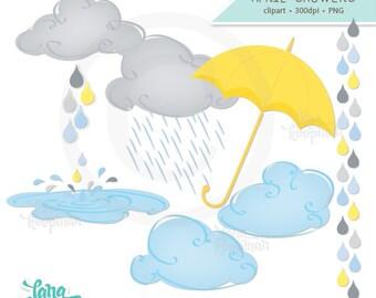 April Showers Clipart, Umbrella Clipart, Clouds Digital Clipart, Rain Clipart, Raindrops Clipart