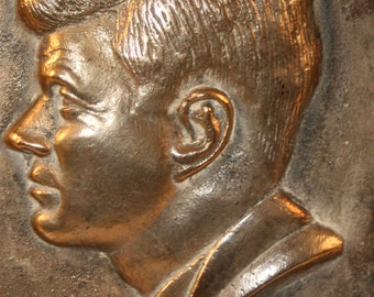 Rare Vintage Brass John F Kennedy Commemorative 3D Profile Plate
