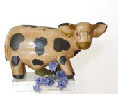 Bali cow, paper mache spotted cow Balinese folk art animal figurine