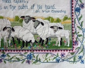 Irish Blessing needlepoint, cross stitch sheep in flower border, Wind always at back