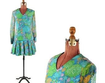 Vintage 1960's Sheer Chiffon Drop Waist Woodland Flower Mini Mod Shift Dress M