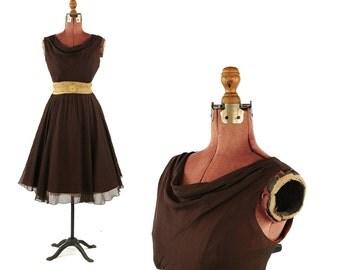 Vintage 1960's Elinor Gay Warm Brown Sheer Chiffon Metallic Gold Mesh Full Sklirt Party Prom Dress M
