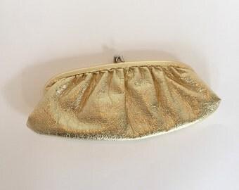 Vintage Gold Lame' Clutch / Dressy Evening Bag