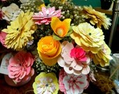Mason Jars - Rustic Bouquets - Paper flowers - made to order - 6 1/2 inch painted Mason Jar - Filled with wild flowers