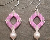 Lilac & Silver Beadwork Earrings with Freshwater Pearls