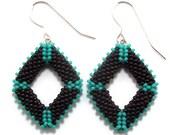 Black & Turquoise Diamond Seed Bead Earrings