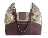 SALE ITEM/ Leather Hobo Bag with Batik Floral Fabric / Leather Strap and Pockets / Large Hobo Handbag