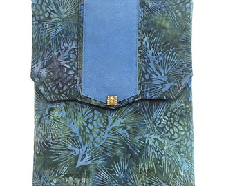 I-Pad / Tablet Tote Bag/Green and Blue Nature Print/Leather and Batik Fabric/ Adjustable Strap