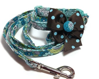 Aqua and Brown Floral Dog Collar and Leash Set size Small