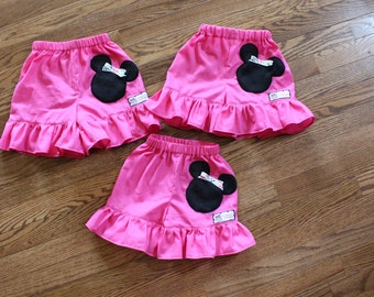 Girls Toddler Minnie Mouse Ruffle Shorts all COLORS avail 12 months thru 6x