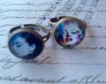 Jewelry Rings Womens Marilyn Monroe and Audrey Hepburn 3D Resin Rings