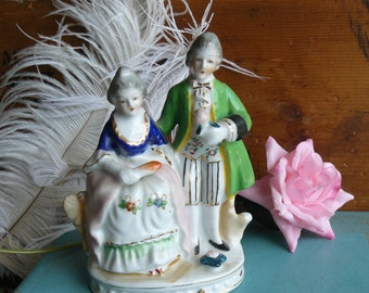 Occupied Japan Figurine, Georgian Couple, Hand Painted China Couple Holding a Rose and a Fan