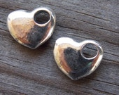 8 Antiqued Silver Puffy Heart Charms 13mm