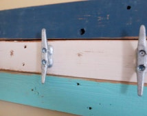 Boat Cleat Towel Hooks Nautical Coat Rack Turquoise White Blue Reclaimed Wood Fence Nautical Decor Ocean decor Beach House Decor Lake Decor
