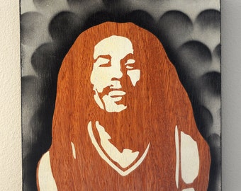 Happy Bob Marley Graffiti Stencil Art Painting on Wood Box Frame