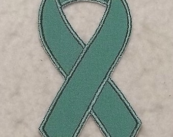 Teal Awareness Ribbon - MADE to ORDER - Choose SIZE - Tutu & Shirt Supplies - fabric Iron on Applique Patch 7007