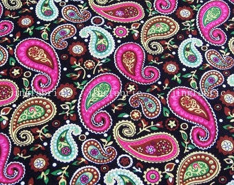 C2014B - 1 meter  Cotton Fabric - Paisley Flowers (black)  (145cm width)