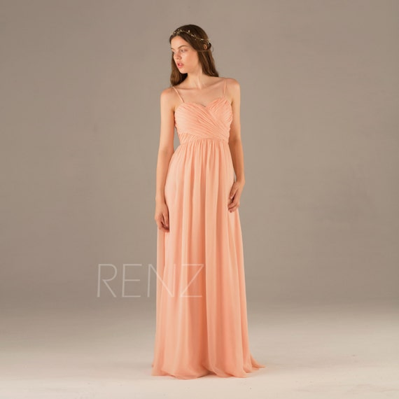 Bright peach bridesmaid dresslong chiffon prom dress for Bright colored wedding dresses