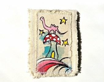 Dinosaur Wallet Hand Painted Cotton Canvas Art
