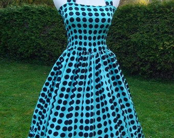 Special Price-Polkadots Halter dress Vintage inspired  Retro Rockabilly swing, party dress, bridesmaid, summer dress -  in tourquise