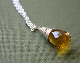 Citrine Necklace, Quartz Necklace, November Birthstone