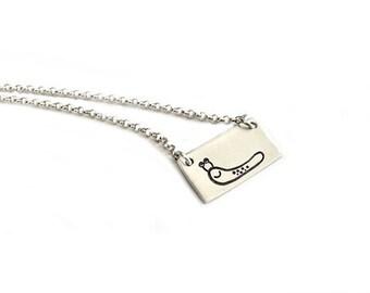 Joe The Slug - Fun Series Four - Hand Stamped Sterling Silver Jewelry