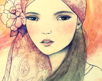 Girl with pink bandana art print