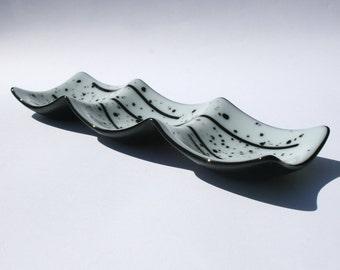 Handmade Fused Glass Serving Platter - Black and White