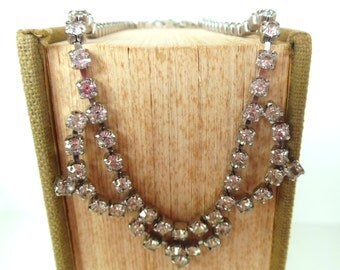 "Vintage Rhinestone Necklace Choker Silver Points 15""  50's (item 212)"