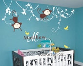 wall decal monkey in the jungle baby name wall decals child boy nursery wall sticker wall mural -  monkey and baby name