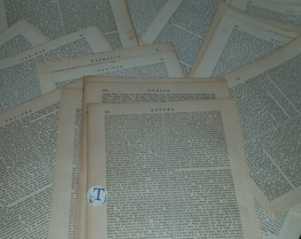 50 c1900 encyclopedia book pages words text lot Antique Vintage paper supplies  altered art scrap projects