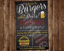 Burgers and Beer Birthday Invitation (BU01)