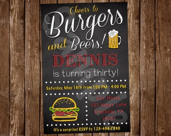 Burgers and Beer Birthday Invitation (BU01)