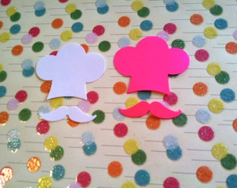 25 Chef Hat and mustache pink or white or color of your choice Hand Punched Die Cut  embellishments for Scrap booking, confetti,