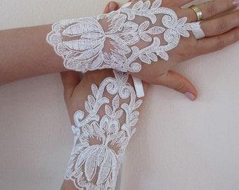Wedding gloves bride glove bridal gloves lace gloves fingerless gloves ivory gloves french lace gloves cuff wedding free ship bridal gloves