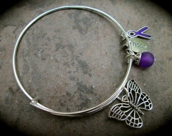 Purple Lupus or Alzheimer's Awareness bracelet adjustable wire bangle bracelet with Butterfly Purple dangle Hope and Ribbon charms