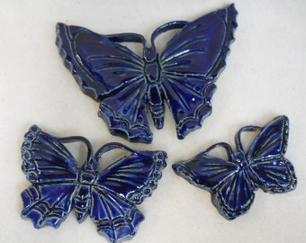 Handmade Ceramic Tiles BUTTERFLY Navy Blue  Shades  Set of 3 - Mosaic Tile Pices - Craft Tiles