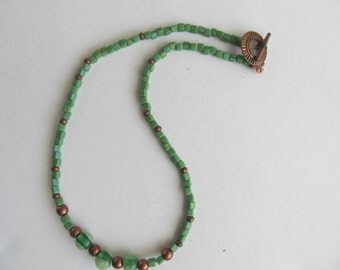 Green and Copper Beaded Necklace. 16.5 inches long. One of a Kind, Ready to ship Mother's Day Gift