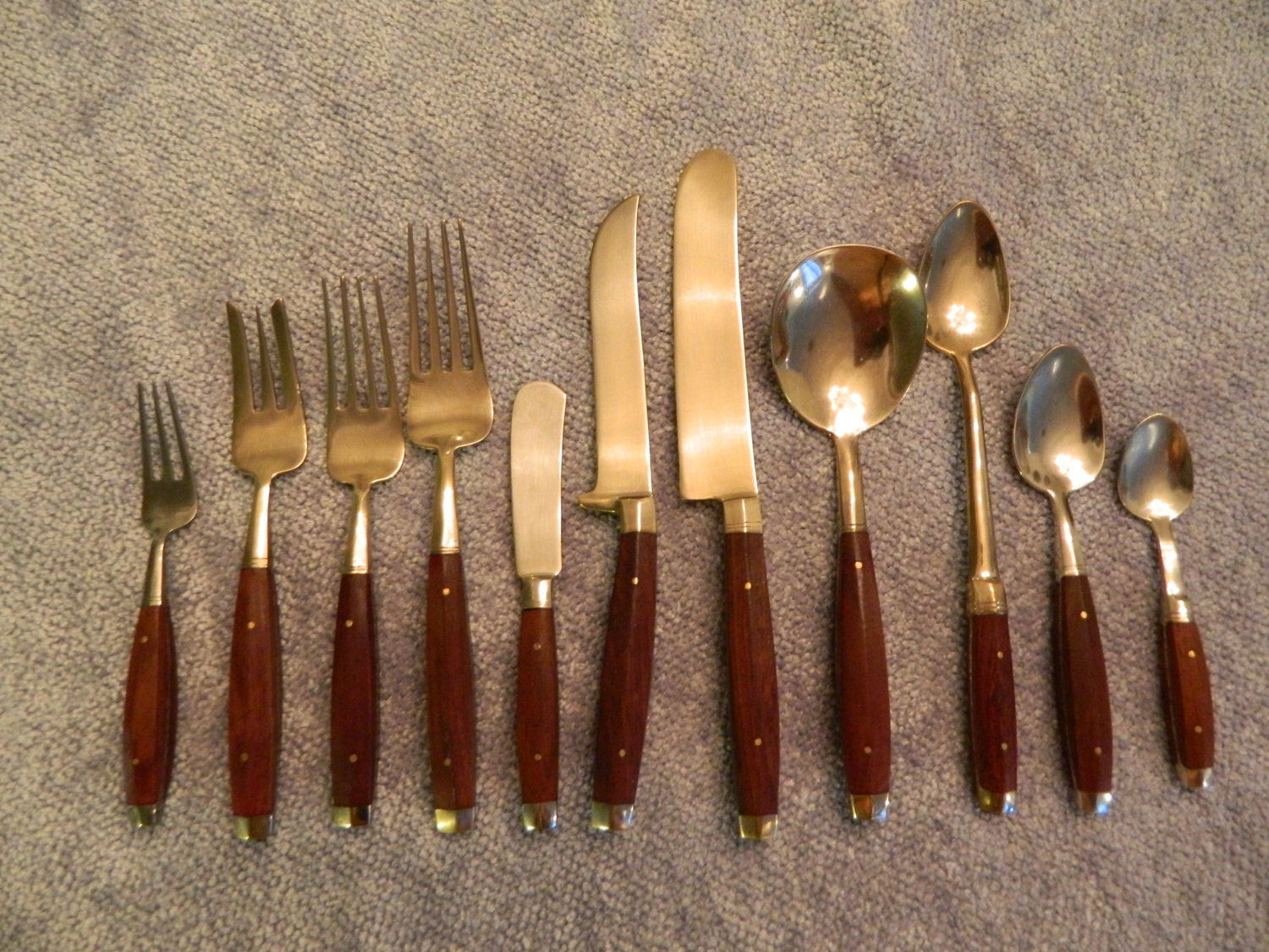 Vintage Flatware Bronze Brass And Rosewood Flatware 12 Place