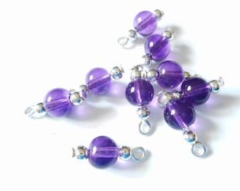 Purple Transparent Druk Dangle Beads