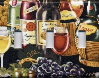 Wine Triple Light Switch Plate